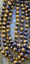 "CARVED 10 KT. GOLD PLATED LAPIS LAZULI DRAGON BEADS - ONE (1) 15.5"" STRAND - 8MM"