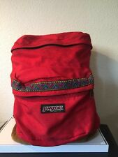 VINTAGE Red Jansport Backpack w/ Leather - Tribal Aztec Southwest Detail!