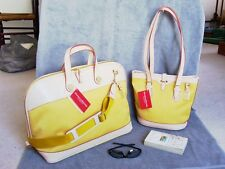 NWT DOONEY& BOURKE 2-PC OVERNIGHT TRAVEL & BUCKET SHOULDER BAG SET~YELO~SAVE$209