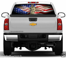Flag American Soldier Wings #01 Rear Window Graphic Tint Truck Stickers Decals