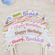 Happy Birthday Cake Cupcake Bunting Banner Flag Topper Shower Party Picks JM