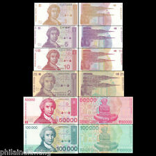 Croatia 1,5,10,25,50000 & 100000 Dinara ~ 6 Pcs SET -- UNC (with high value)