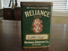 Antique Reliance National Grocery Seattle Curry Powder 1 lb.Spice Can Tin Rare!!