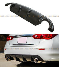 GLOSSY CARBON FIBER S STYLE REAR BUMPER DIFFUSER BODY KIT LIP FOR INFINITI Q50 S