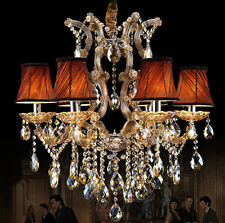 6 Lights 23'' Modern Crystal Chandelier Ceiling Lamp Pendant Light Cognac Color