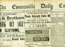 Newspaper Edwin Booth Theatre Ad John Wilkes Booth Brother Evansville 1882