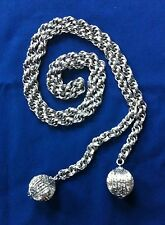 vintage silver tone rope chain dangle belt disco balls 70s 80s womens metal