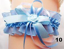 XXL Braut Strumpfband bis 80 cm blau weiß mit Röschen Hochzeit Satin Tüll
