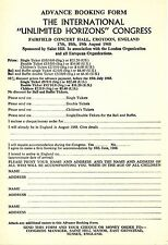 INTERNATIONAL UNLIMITED HORIZONS CONGRESS 1968 booking form Scientology Hubbard