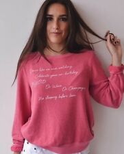 NWT Wildfox Just Because List BBJ Sweater Sweatshirt S Love Potion Pink��