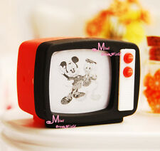 1/24 Dollhouse Miniature Toy Plastic Mini TV Red Mickey & Donald Duck Television
