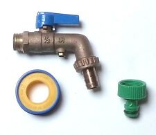 Brass Lever Outside Tap With Double Check Valve, PTFE & Garden Hose Fitting