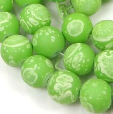 8mm Matte Frosted Glass Round Beads Dual Coated -  Green w/ white dot 16""