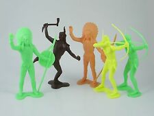 "5x marx, plastimarx & unbranded large 6"" toy soldiers-native american indians"