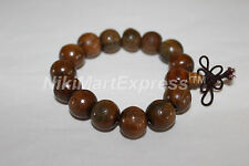 Feng Shui Tibetan Sandalwood Carved 15mm Prayer Bead Buddhist Stretch Bracelet
