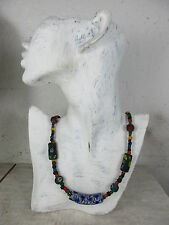 alte Glasperlen Halskette, Sandguß, Milleflori Perle DZI Bead Tibet ~1970  72cm