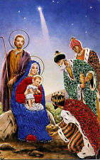 Holy Family, Baby Jesus,Mary,Joseph•Offerings 3 KINGS•silk-embroidered POSTCARD