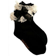 Fashion Baby Girls Kids Toddlers Frilly Bowknot Lace Trim Ankle Socks Black-S