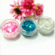 3pcs DIY Nail Art Glitter 3 Colors Chunky Hexagon Mylar Flakes Festival Party