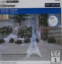 Gemmy LED Lightshow 5 ft Glimmer Icy Blue Crystal Eiffel Tower Sculpture NIB