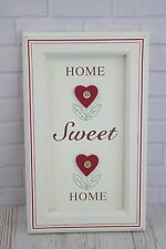 Shabby Chic Heart Plaque Home Sweet Home Red & Cream Ex Large F0637A