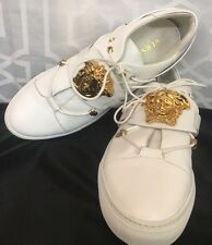 Versace Medusa Head Leather Sneaker  White /gold Size 43 1/2