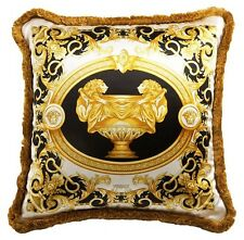 "VERSACE Le Vase Baroque Medusa Pillow - 17.7"" - Silk - Black"