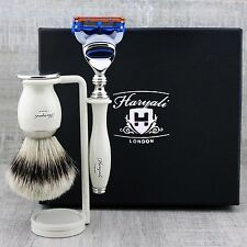 CLASSIC SHAVING KIT Silver Tip Badger Brush & Gillette Fusion MEN'S GROOMING SET