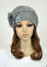 M39 Winter Wool & Rabbit Fur Fashion Lady's Dress Hat Beanie Cap Flower ALL GREY