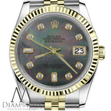 8+2 Emerald Cut Diamond Rolex 36mm Datejust 18K/2Tone Black MOP Mother Of Pearl