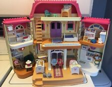 Vintage Fisher Price Loving Family Pink Roof Grand DollHouse 4649
