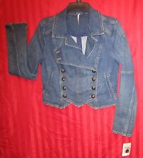 Women's Free People Double Breasted Denim Band Jacket Dark Wash Size S NWT