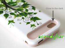 iPhone 4 4S Pink Skin Glow in the dark Hybrid Green Tree Butterfly Cover Case