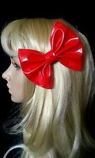 "4"" Large Red patent PU wetlook pvc hair bow clip. Pin up. Goth. Fetish. 80's"