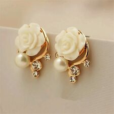 New Style Korean Women White Rose Imitation Pearl Crystal Earrings