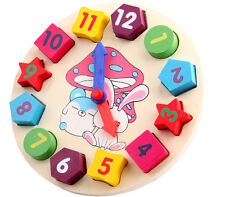 Kids Baby Toy Wooden Clock 12 Number Colorful Puzzle Educational Bricks Toys