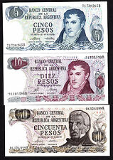 Argentina 5 ,10 , & 50  Pesos P. 294 , 295 , 296 - 3  UNC Notes ND 1970s