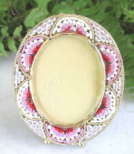 GORGEOUS VTG.  ITALIAN MICRO MOSAIC PICTURE FRAME PINK RED WHITE TILES
