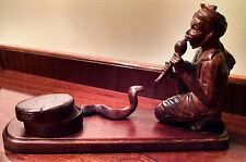 Rosewood Snake Charmer with Flute Hand Carved Figure Middle Eastern Village Icon