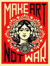 """MAKE ART NOT WAR Vintage Decor 36X24"""" Fabric Poster 415"""
