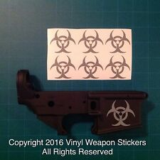 BIOHAZARD AR 15 Receiver Sticker 6 Pack, M4, Brand New, GREY!