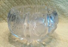 Vintage EAPG Glass CRYSTAL Footed Bowl Thistle Pattern Wright Company Unique