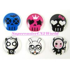 6x Cute Skull Soft Plastic Round Home Button Sticker For iPad2 iPhone 4 4S 5 #12