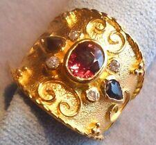 14kSolid Gold Etruscan ByzantineStyle Rhodolite Garnet Sapphire Diamond Ring N16
