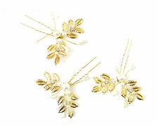 3 x Gold Ivory Laurel Leaf Pearl Hair Pins Bridal Grecian Vintage Vine White 8AY