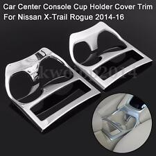 1PC Car Center Console Holder Cover Trim Chrome For Nissan X-Trail Rogue 2014-16