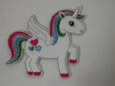 Flying Unicorn With Hearts Embroidered Iron On Applique Patch
