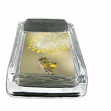"""Bee Glass Ashtray D4 4""""x3"""" Honey Swarm BumbleBee Winged Insect Bug"""