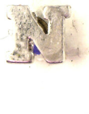 Antique Vintage Miniature Collectible Initial N Silver tone Lapel Pin #N964
