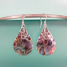 "1 1/4"" Teardrop Abalone Paua Shell 925 Solid Sterling Silver Dangle Earrings"